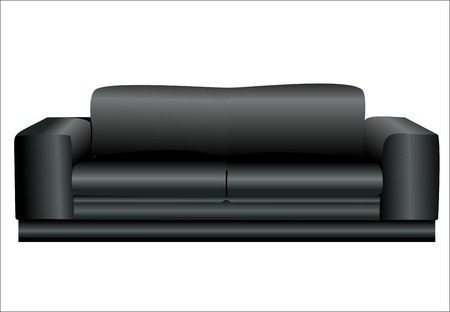 Image of a modern black leather sofa isolated against white background Stock Vector - 14630891