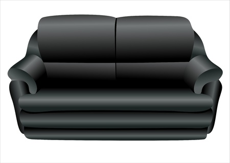 Image of a modern black leather sofa isolated against white background Vector