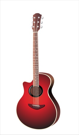 brownish: Acoustic cutaway guitar isolated over white background