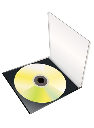 CD Box with disc on white background Vector