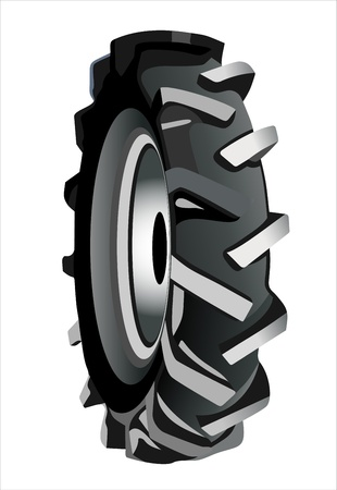 Tractor tire on white background Vector