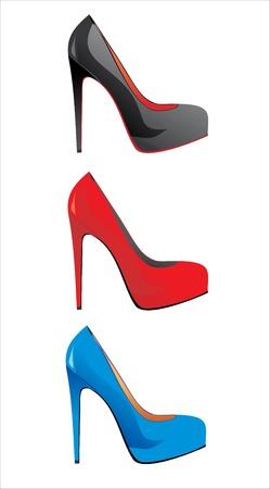 high heeled: Womens shoes isolated on white  illustration  Illustration