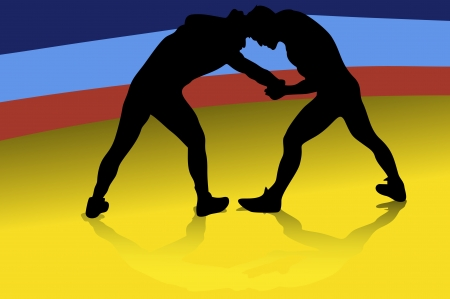 Wrestling is A Physical Competition, Between Two Competitors Vector