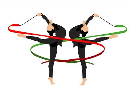 gymnastics silhouette: Illustration of rhythmic gymnastic girl
