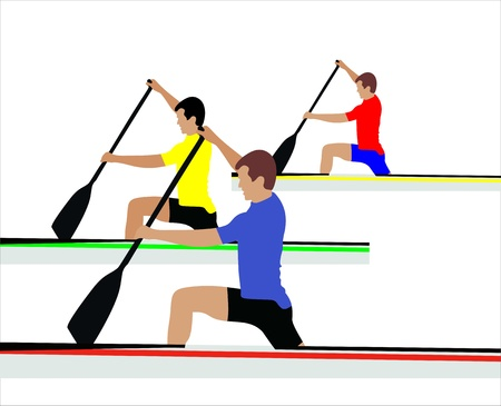 Group of sports person silhouette doing kayaking Vector