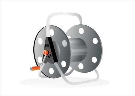 poliester: Metal carrete de hilo aislado en blanco Vectores