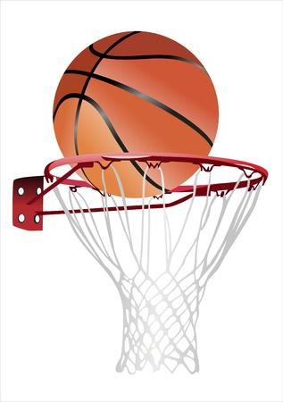 basketbal hoepel en bal (basketbal hoepel met basketbal, basketbal en hoepel) Stock Illustratie