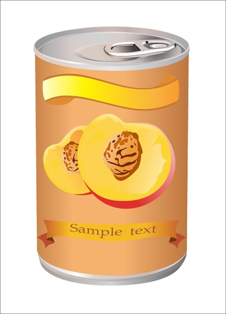 canned food: canned peaches. Isolated on white.