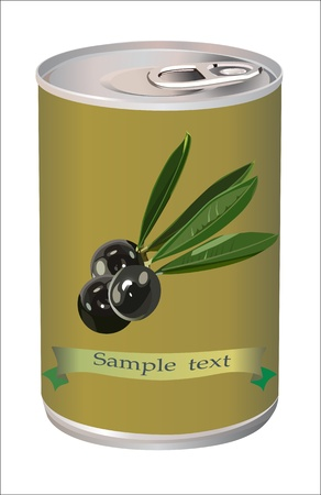 black olives, black olive branch and bank of black olives isolated on white photo-realistic  Stock Vector - 15086372