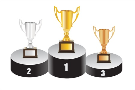 trophies-gold silver and bronze Stock Vector - 15086359