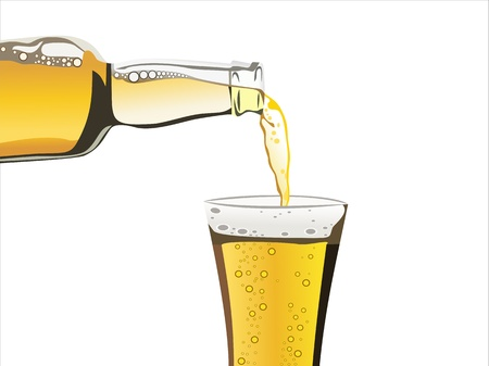 beer pouring from bottle in to the glass isolated on a white background Vector
