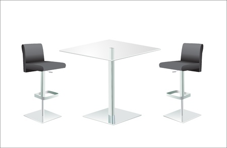 distal: High Glass Top Table w Chairs on white background