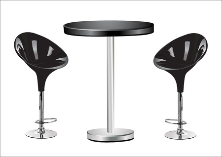 distal: High Table w Chairs on white background  Illustration