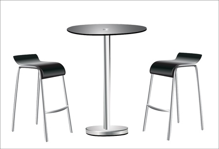 bar interior: High Table w Chairs on white background  Illustration