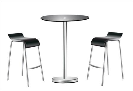 distal: Tavolo alto Sedie w su sfondo bianco Vettoriali