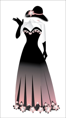 elegant fashion girl with black hat Vector