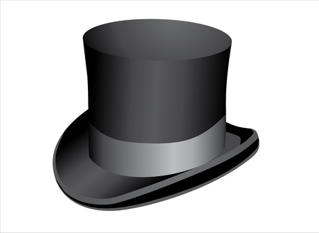wealthy man: Black top hat isolated on white background