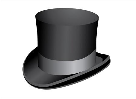 tophat: Cappello a cilindro nero isolato su sfondo bianco Vettoriali