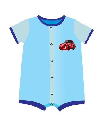 infant: Blue infant boy clothing for baby shower isolated on white background Illustration