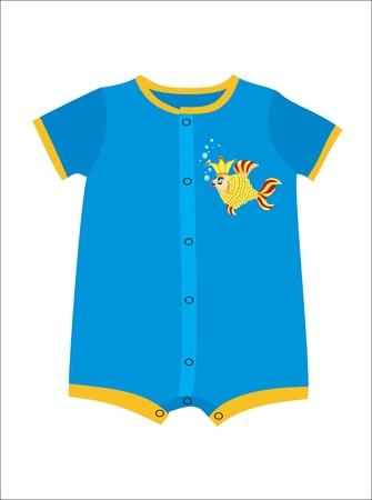 Blue infant boy clothing for baby shower isolated on white background Illustration