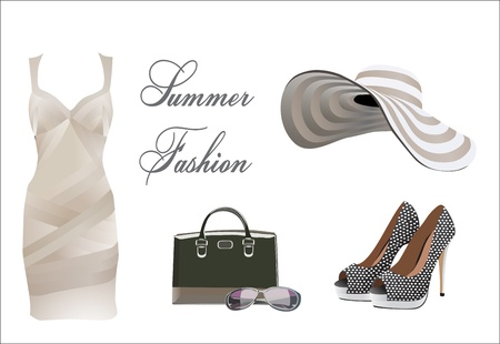 handbag: collection of summer clothes Illustration