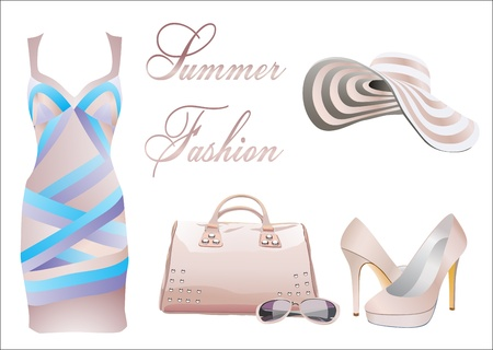 sundress: collection of summer clothes Illustration