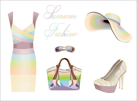 collection of summer clothes Vector
