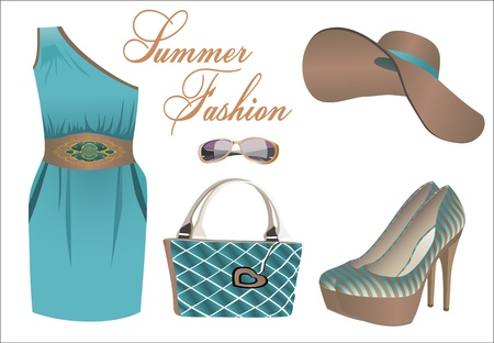 yellow jacket: collection of summer clothes Illustration