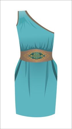 glamour model: elegant dress isolated on white background