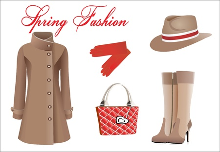 spring coat: Vector collection of fashionable clothes seasons spring Illustration