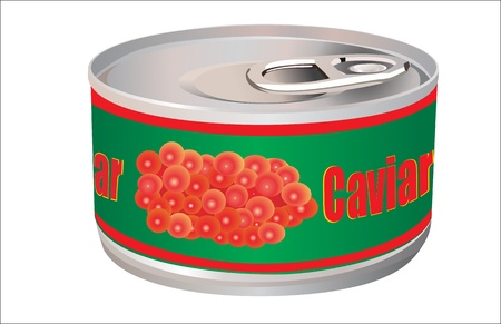 caviar: bank with red caviar, isolated on white Illustration