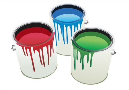 messy paint: Cans of paint