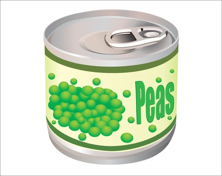 metallic tin can with green peas isolated on white background Illustration