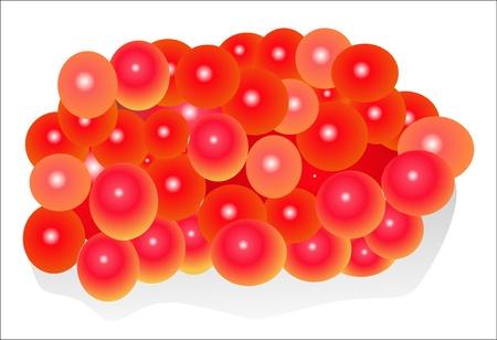 avuç: Kırmızı havyar avuç beyaz zemin üzerine izole