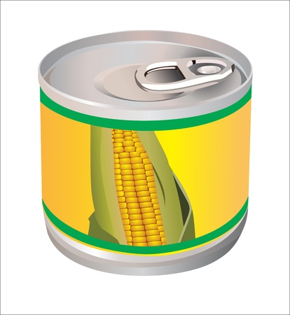 canned goods:  bank with corn isolated in white Illustration