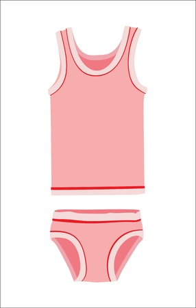 Pink underwear set for girl Vector
