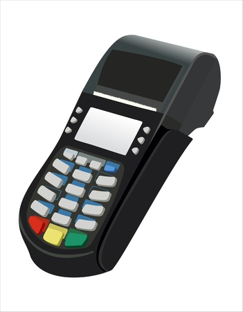 cashless payment: Modern bank terminal on the white