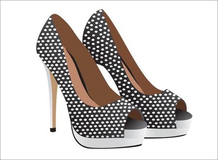 tacones negros: vector par de zapatos