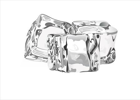 cubos de hielo en blanco Ilustración de vector