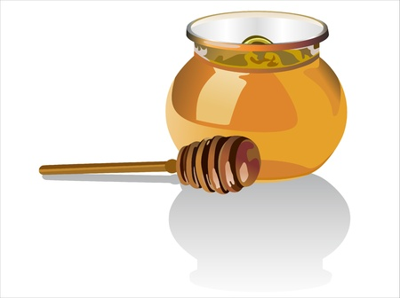 Jar of honey with wooden drizzler isolated on white background Stock Vector - 15993571