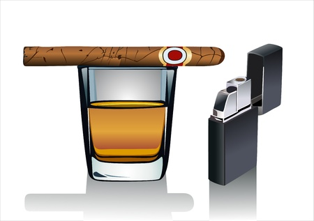 havana cuba: Whiskey glass and cigar  Isolated on white background