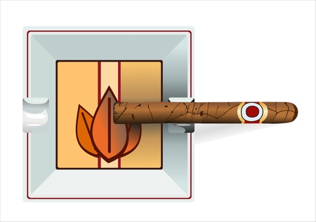 havana cigar: Ashtray with a decaying cigar isolated on a white background Illustration