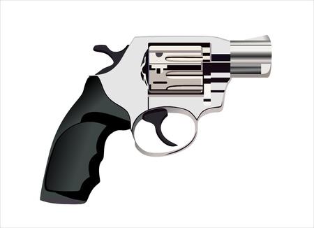 Silver revolver on white background