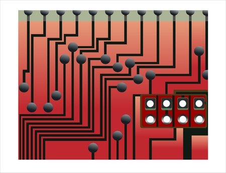circuit board with electronic Stock Vector - 15993566