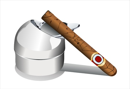 Ashtray with a decaying cigar isolated on a white background Illustration