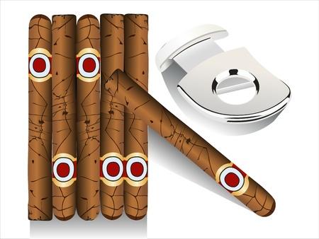 havana cigar: Cigar and guillotine. Vector illustration on white background.