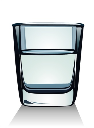 purified: Glass with water on white background Illustration