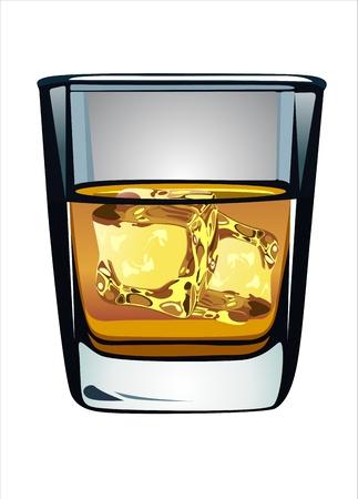 bourbon whisky: Glass of whiskey and ice isolated on white background Illustration