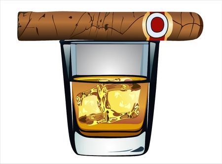 cuban cigar: whiskey and cigar on white