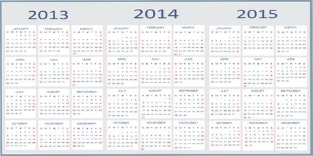Vector calendar for 2013-2015 Vector